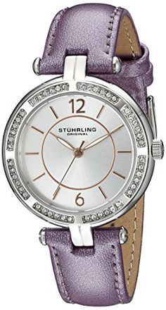 Stuhrling Original Womens 55003 Vogue Stainless Steel Watch with Purple Band >>> Visit the image link more details. (This is an Amazon affiliate link)