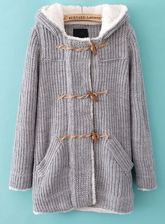 Grey Hooded Long Sleeve Pockets Knit Outerwear
