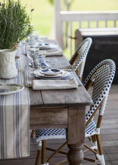 Grain Sack Placemats with Blue Stripe & Paris Crest Patio Table, A Table, Dining Table, Farmhouse Design, Farmhouse Decor, French Farmhouse, French Country, Farmhouse Style, Farmhouse Napkins