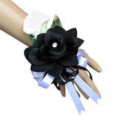 Wrist Corsage - Black Open Rose and Real Touch Calla Lily