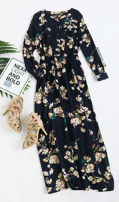 Navy Long Sleeve Floral Maxi Dress