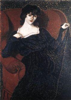 Rippl-Rónai, József (1861-1927)  Zorka Bányai in a Black Dress  Date: 1919  Movement: Nabis  Theme: Portrait  Technique: Oil on cardboard  Museum: Hungarian National Gallery  Location: Budapest, Hungary