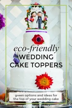 eco-friendly wedding cake topper on a bright colorful cake Luxury Wedding Invitations, Diy Wedding Favors, Handmade Wedding, Wedding Ideas, Wedding Themes, Wedding Decor, Wedding Venues, Wedding Inspiration, Wedding Dresses