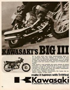 Vintage Bikes, Vintage Motorcycles, Cars And Motorcycles, Motorcycle Posters, Retro Motorcycle, Old Advertisements, Advertising, Kawasaki 500, Japanese Motorcycle