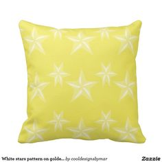 White stars pattern on golden yellow background throw pillow