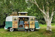 Teal green VW Bus Camper