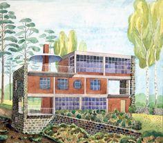 Joseph Frank, Blue Lantern, Dream Furniture, Lanterns, Multi Story Building, Presentation, Architectural Drawings, Architecture, Painting