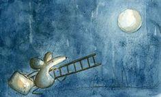 Pinzellades al món: Les il·lustracions d'Irisz Agocs: imaginari en aquarel·la Leo Lionni, Beatrix Potter, Cute Illustration, Watercolor Illustration, Good Night Moon, Beautiful Dream, Moon Art, Whimsical Art, Conte
