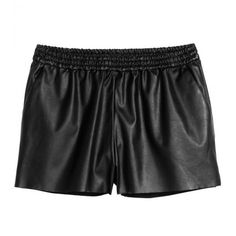 Split Hem Leather Look Runner Shorts (115 CNY) ❤ liked on Polyvore featuring shorts, bottoms, vegan leather shorts and faux-leather shorts
