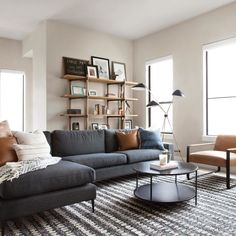 Nova Bard Gray Left Sectional Sofa Flipping through photos of the and getting so so excited because s Boho Living Room, Living Room Grey, Charcoal Sofa Living Room, Danish Living Room, Condo Living, Room And Board Living Room, Manly Living Room, Masculine Living Rooms, Living Room Sectional