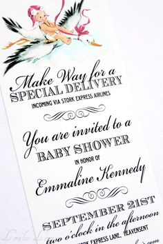 Loralee Lewis created this invitation using the adorable cherub-topped stork. Look for it at her Etsy shop.