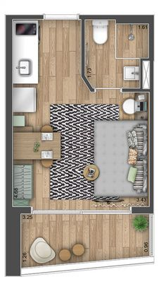 Studio Apartment Floor Plans, Studio Floor Plans, Hotel Floor Plan, My House Plans, Small House Plans, House Floor Plans, Layouts Casa, House Layouts, Small Apartment Interior