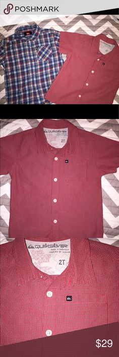 Lot of 2 Boys Quiksilver Button Up Dress Shirts 2t Lot of 2 Boys Quiksilver Button Up Dress Shirts- Sz 2t - excellent condition Quiksilver Shirts & Tops Button Down Shirts