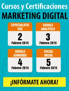 Febrero: Cursos de Google AdWords, Analytics, Social Media y SEO Online. Infórmate Aquí!  https://docs.google.com/a/adveischool.com/forms/d/1IPL4AO-Fg_9eHS2DsZbvAlw61hrZSoqlACEEsSGY_7Y/viewform