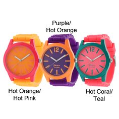 Make a bold statement with this colorful Geneva platinum watch. Available in a variety of fun styles, this watch has a durable silicone strap that secures with a tang-buckle clasp. It also has a neon dial and neon markers that make it stand out.