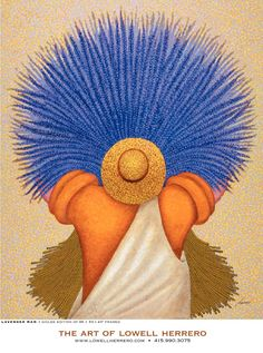 Lavender Man~Looks a little like he got an idea from Diego Rivera;s Flower Seller