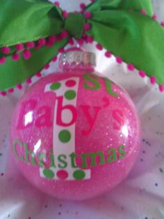 Baby's First Christmas Ornament Glittered 4 Ribbon by all4mygirlz, $12.99