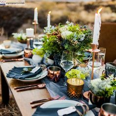 From stationery to wedding decor, find out how to use the Pantone 2020 Color of the year, PANTONE Classic Blue, on your wedding images). Fall Wedding Colors, Purple Wedding, Wedding Gold, Wedding Bells, Rustic Country Wedding Decorations, Copper Wedding Decor, Decor Wedding, Navy And Copper, Deco Table Noel