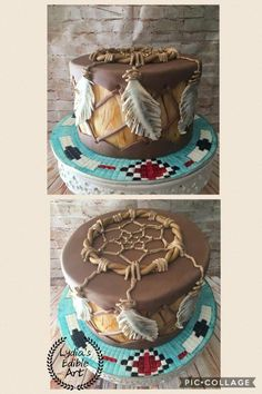 Native American Drum cake with a Dream Catcher on top. Cake by Lydia's Edible Art. Native American Cake, Native American Wedding, Indian Birthday Parties, 4th Birthday Cakes, Fancy Cakes, Cute Cakes, Dream Catcher Cake, Boho Cake, Indian Cake
