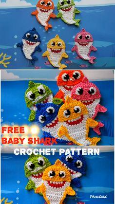 Baby Shark and His Family FREE Crochet Pattenrn Muster - Crochet Knitting Amigurumi Crochet Simple, Cute Crochet, Crochet For Kids, Crochet Crafts, Crochet Hooks, Crochet Projects, Knit Crochet, Mario Crochet, Crochet Game