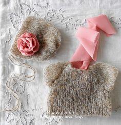 Pletený set s růží - rekvizita k focení miminek   Zboží prodejce Monchéri  baby props and toys 4b3e3d0a0e