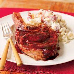 Pork Chops with Ancho Chile Rub and Raspberry Glaze Recipe | MyRecipes.com