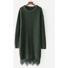 Contrast Lace Hem Sweater Dress ($7.99) ❤ liked on Polyvore featuring dresses, lacy dress, lace sweater dress, sweater dress and lace dress