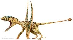 It's a dinosaur — scaly, fuzzy, with an oversized zebra-striped head, leopard-spotted legs, tiger stripes on the tail and two unfoldable wings permanently erect and attached to its feet. Reptiles, Mammals, Dinosaur Fossils, Dinosaur Art, Extinct Animals, Prehistoric Creatures, Character Design References, Thing 1, Creature Design