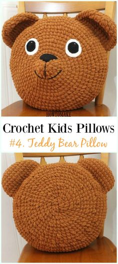 Crochet Teddy Bear Pillow Free Pattern -Fun #Crochet Kids #Pillows Free Patterns