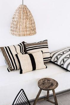 woven moroccan pendant lamp and throw pillows / sfgirlbybay