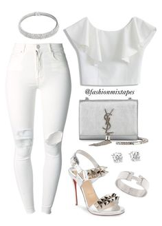 A fashion look from May 2016 featuring boat neck tops, free people jeans and red heeled sandals. Browse and shop related looks. White Fashion, Love Fashion, Plus Size Fashion, Fashion Outfits, Fashion Trends, All White Party Outfits, All White Outfit, Night Outfits, Classy Outfits