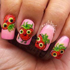 hilarious and cute! strawberry by nailsbyalexiz    #nail #nails #nailart
