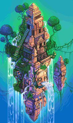 www.cfsl.net - Communauté Créative • Voir le sujet - les temple pixel art!  Repinned to Pixel Art by Aline