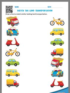 Kindergarten transportation worksheets that allow kids to match each vehicle to where we find them & match similar looking land transportation. These worksheets are free printable. Transportation Preschool Activities, Transportation Worksheet, Preschool Learning Activities, Free Preschool, Transportation For Kids, Preschool Writing, Vocabulary Activities, Fun Worksheets For Kids, Printable Preschool Worksheets