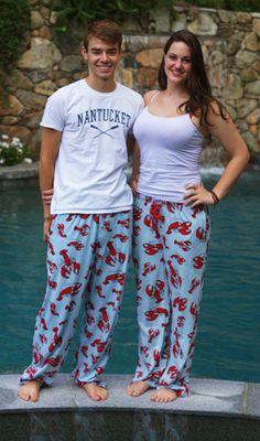 """Lazy One """"Lobster"""" Unisex Cotton Pajama Pant in Blue"""