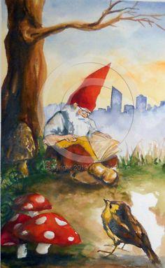 Hallie LeBlanc Studio Etsy listing at https://www.etsy.com/listing/173406356/art-gnome-reading-illustration
