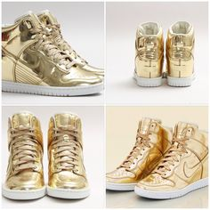 Liquid Gold Nike wedge sneakers..... I'm in-Love!!!