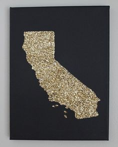 9x12 California State in Sparkles on Canvas by WeLiveFancy on Etsy, $18.00