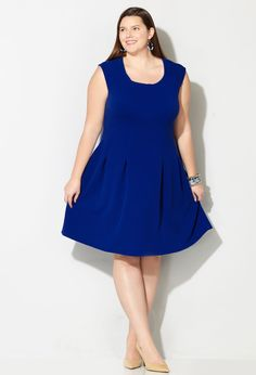 Shop flattering new plus size dresses in sizes 14-32 like the Keyhole Pleated Fit and Flare Dress available online at avenue.com. Avenue Store