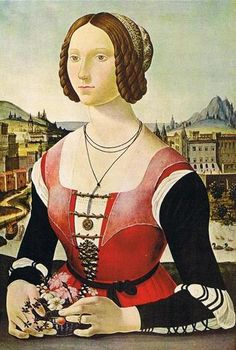 Unknown Florentine Painter - 'Portrait of a Lady'  I like the lacings on the sleeves and across the bodice.Katarina Sforza?