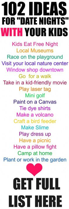 """Ideas for Date Nights with your Kids 102 """"Date Night"""" Ideas for your Kids! 102 curated ideas to enjoy kids activities with your """"Date Night"""" Ideas for your Kids! 102 curated ideas to enjoy kids activities with your family Family Activities, Toddler Activities, Toddler Chores, Kid Activites, Summer Activities, Toddler Boys, Indoor Activities, Preschool Family, Bonding Activities"""