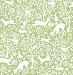 Woodland Meadow wallpaper is a wonderful quirky floral tree design featuring deer, rabbits and birds on a green background