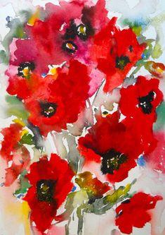 "Poppies en masse IV - Saatchi Online Artist Karin Johannesson; Painting, ""Poppies en masse IV"" #art"