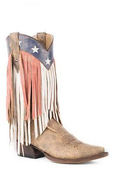 Roper Women's Americana Fringe Top Snip Toe Cowgril Boots - HeadWest Outfitters