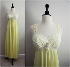 Vintage 60's Olga Nightgown Yellow and White by PARASOLvintage