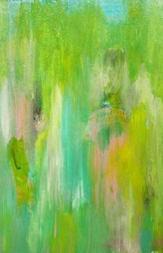 Original Abstract Acrylic Painting with Lime Green by Jimarieart, $30.00