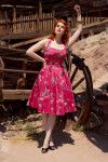 Pinup Couture Ginger Dress in Red Western Print | Vintage Style Swing Dress in Western Print  | Pinup Girl Clothing