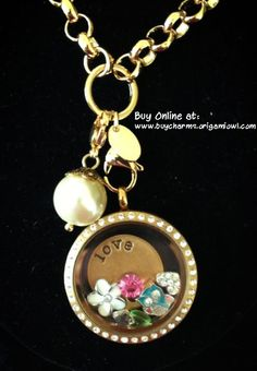 Origami Owl Large Gold Locket with Crystals and Rolo Custom Chain with Love Plate, White Plumeria Flower, Hello Owl, Clear Puffy Heart, birthstone charms, and a pearl dangle!  www.owllockets.com