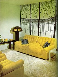 Living Room - Yellow Crushed Velvet Couch & Chair - The Practical Encyclopedia of Good Decorating and Home Improvement, 1970 1970s Decor, Retro Room, Decor, Modular Chair, Vintage Interiors, Tree Wall Murals, Retro Home Decor, 70s Decor, Retro Decor