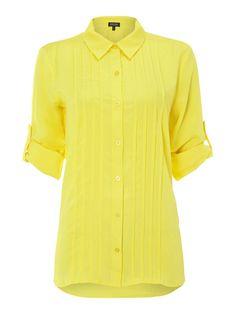 Episode Pintuck collar roll sleeve blouse, Yellow by Episode Pin Tucks, How To Roll Sleeves, Collar Shirts, Long Sleeve Tops, Street Style, Shirt Dress, Yellow, Rihanna, Casual